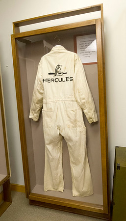 An old Hercules uniform sits inside a display case at the Powers Museum on Tuesday.<br /> Globe | Laurie Sisk