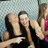 Globe/Roger Nomer<br /> Haven Shepherd laughs with her friends, Corrine Miller, 14, left, and Tyne Holt, 14, before their races at Schifferdecker Pool on Friday, July 15.