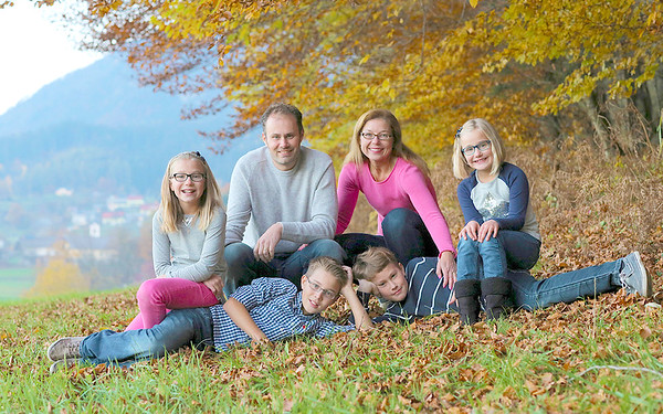 Gregor and Jasna Kalan, center, of Chicopee, pose with their children near Gregor's village of Senično in Slovenia. From the left:  Polona Kalan, 10, Janko Kalan, 13,Matevž Kalan, 12 and Anamarija Kalan, 8.<br /> Courtesy photo/Gregor Kalan<br /> <br /> <br /> <br /> Gregor is from Senično<br /> Polona, 10<br /> <br /> Janko, 13<br /> <br /> Matevž, 12<br /> <br /> Anamarija 8<br /> <br /> <br /> Montain Storžič in Region of Gorenjska<br /> <br /> Gregor is from Senično