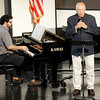 "Soloist Murray Hollis, right, accompanied by pianist Gary Jordan, entertains a crowd of about 200 people with their rendition of ""Statue of Liberty"" during the Joplin Area Organists' Association's ""Patriotic Flushes"" on Saturday at the Ozark Christian College Chapel.<br /> Globe 