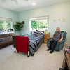 Korean veteran Edwin Patron sits in his spacious bedroom, where he lives with caretaker Tom Jones and Jennifer Jones on their rural Verona farm.  Patron said he never closes his blinds because of the spectacular view from his windows.<br /> Globe | Laurie Sisk