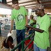 Shirley Luton, right, gets acquainted with his 4H partner, Logan Elliott, 16, of the Shamrock 4H Club and the goat they will be showing on Wednesday night as part of Herding Heroes at the Cherokee County Fair in Columbus, Kan.<br /> Globe | Laurie SIsk