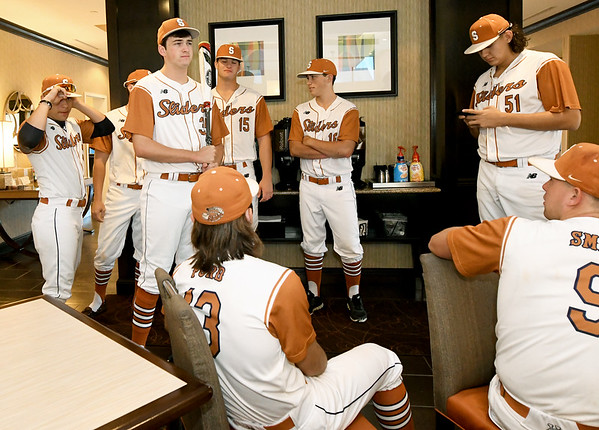 Members of the Texas Sliders, a San Antonio, Texas-based team gather before departing for their first game of the Premier Baseball Tournament at Homewood Suites by Hilton on Wednesday morning.<br /> Globe | Laurie Sisk