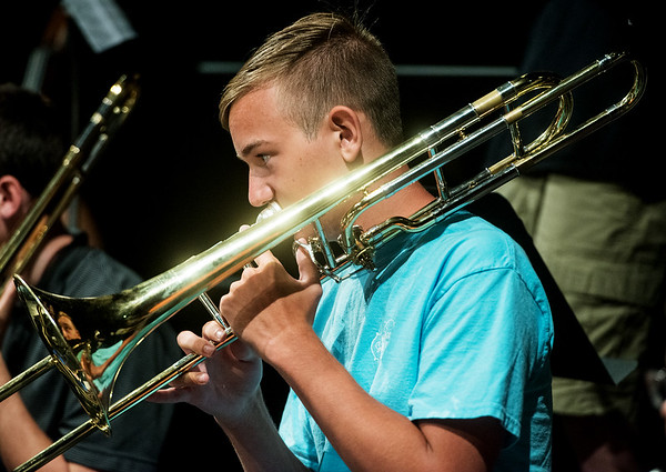 Globe/Roger Nomer<br /> Sam Petry, 16, Carl Junction, plays a song on Monday during Jazz Camp at Thomas Jefferson Independent Day School.