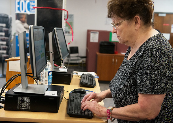 Globe/Roger Nomer<br /> Betty Meadows, Joplin, works at the Joplin Job Center on Tuesday morning.