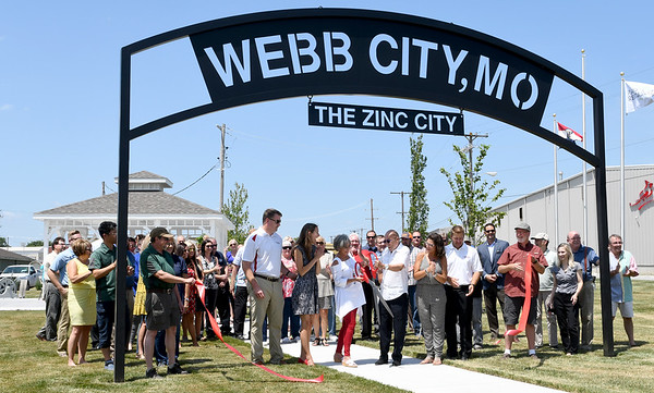 Webb City residents and mining enthusiasts gather at the Cardinal Route 66 Park during dedication ceremonies for the park in Webb City on Thursday. <br /> Globe | Laurie Sisk