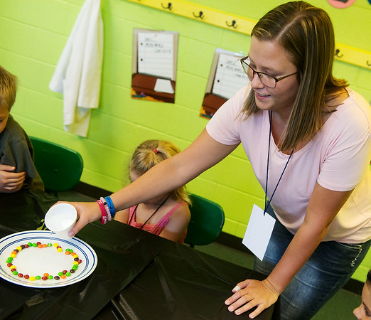 Globe/Roger Nomer<br /> Emilee Baker works at VBS on Monday at First Baptist Church in Webb City.