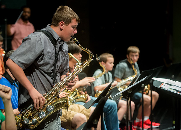 Globe/Roger Nomer<br /> Devin Woods, 16, Seneca, plays a solo on Monday during Jazz Camp at Thomas Jefferson Independent Day School.
