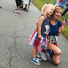 Globe/Roger Nomer<br /> Kristen and Kaitlyn, 3, Fenimore, Joplin, pause for a photo op before the start of the Freedom 321 run on Tuesday at the Joplin Athletic Complex. Proceeds from the run went to benefit the Joplin Miracle League.