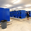 From the left: Carthage High School football coach Jon Guidie and Athletic Director Andy Youngworth chat inside the locker room in the new CHS Fieldhouse on Friday.<br /> Globe | Laurie Sisk