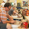 Globe/Roger Nomer<br /> Keith Ekstam, Springfield, makes a clay pot at Phoenix Fired Art on Friday.