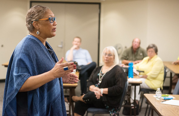 Globe/Roger Nomer<br /> Debra Carter, national program director for the Senior Community Service Employment Program, talks about the program on Tuesday at the Joplin Job Center.