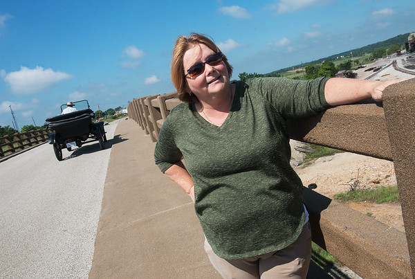 Globe/Roger Nomer<br /> Renee Charles, president of the Kansas Historic Route 66 group, talks about the Galena viaduct on Thursday.