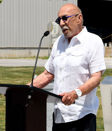 Bill Perry speaks about his family's love for Webb City during the Cardinal Route 66 Park dedication ceremonies in Webb City on Thursday. <br /> Globe | Laurie Sisk