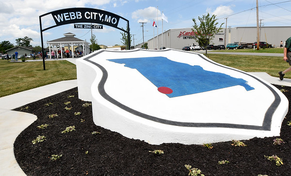 Webb City residents gather at the Cardinal Route 66 Park before dedication ceremonies for the park in Webb City on Thursday. <br /> Globe | Laurie Sisk
