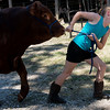 Globe/Roger Nomer<br /> Lottie Youngblood, 9, Carthage, leads her cow Dean through the fairgrounds on Thursday at the Jasper County Youth Fair in Carthage.