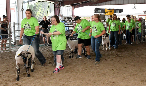 Class LTD clients and their 4H partners lead their goats and sheep into the arena on Wednesday night during the Herding Heroes event at the Cherokee County Fair in Columbus, Kan.<br /> Globe | Laurie SIsk