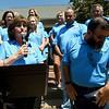 Flanked by part of a large army of volunteers, Ronald McDonald House of the Four States Executive Director Annette Thurston addresses guests during the 20th Birthday celebration of the RMH on Froday.<br /> Globe | Laurie Sisk