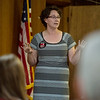 Crystal Brigman Mahaney, regional communication director for We Are Missouri, talks to a meeting of the SWMO Democrats on Wednesday at the Hall of the Laborers Local.<br /> Globe | Roger Nomer