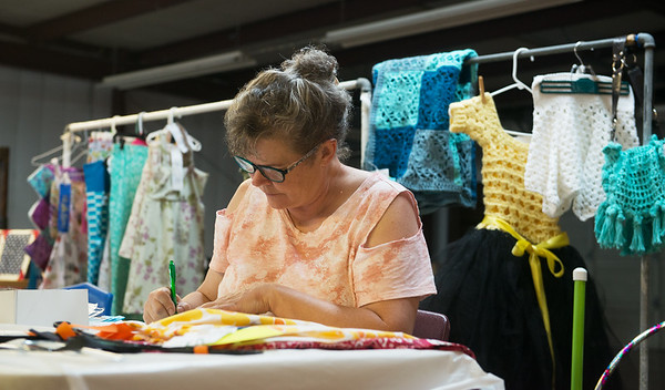Lynda DuMond tags blue ribbon exhibits for competition at the Ozark Empire Fair on Wednesday at the Newton County Fair.<br /> Globe   Roger Nomer