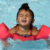 Three-year-old Isla Patton emerges from the kiddie pool at Schifferdecker Pool during her first trip to the pool on Tuesday afternoon. Joplin Pools will soon begin their end of season schedules with Ewert Pool closing August 5. Cunningham will remain open for Saturday and Sunday swims beginning Aug. 5 and will close for the season on Sept. 3. Schifferdecker Pool will remain open until August 12.<br /> Globe | Laurie Sisk