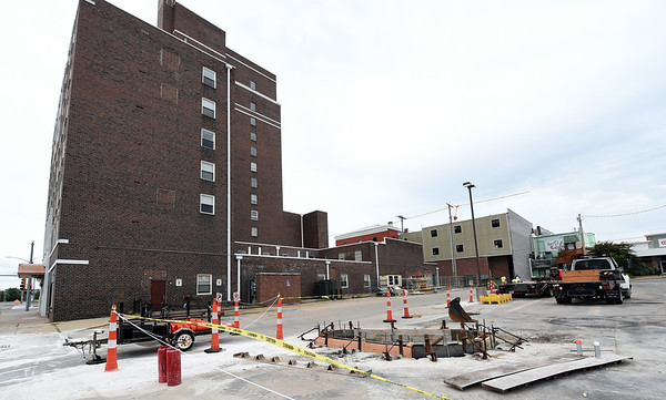 Construction continues on a parking lot for the Block 22 project on Thursday in downtown Pittsburg.<br /> Globe | Laurie Sisk