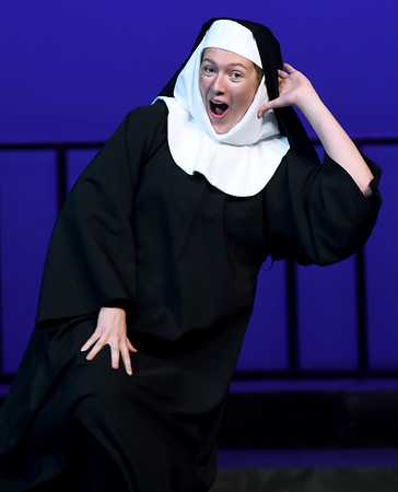 """Sister Mary Patrick (Cassie Hurt-McLarty) catches a little """"Sunday Night Fever"""" during rehearsal for the Pittsburg Community Theatre production of """"Sister Act"""" on Tuesday night at Pittsburg's Memorial Auditorium.<br /> Globe 