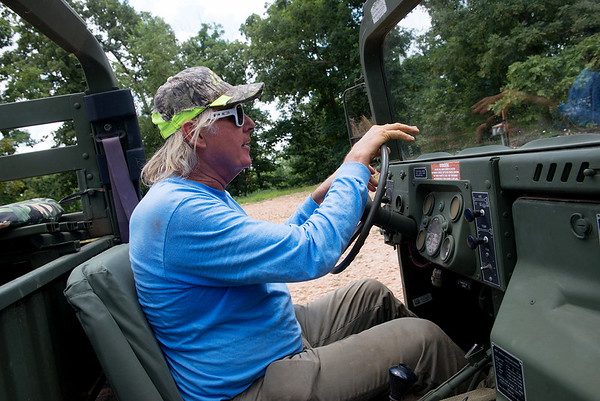Russell van Elk gives a tour of the trails at Rush Springs Ranch in Pineville on Monday.<br /> Globe | Roger Nomer