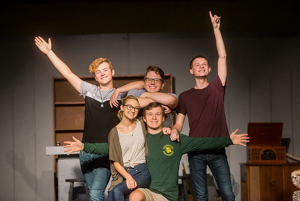 """(from left) Joseph Mitchell, as Wally, Julia Oney, as Lois, Tanner Munson, as Denny, Corbin Chaffin, as Skip, and Spencer Dawson, as Eugene, star in the Joplin Little Theatre' production of """"Life Could Be a Dream.""""<br /> Globe   Roger Nomer"""