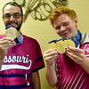 From the left: Special Olympians Seth Dye and Jeremiah Ellis proudly display the medals they earned at the Special Olympics in Seattle earlier this month. Dye competed in softball and Ellis in bowling.<br /> Globe | Laurie SIsk