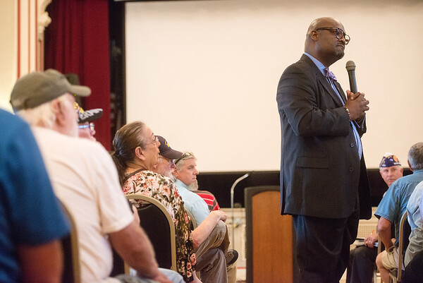 Kelvin Parks, interim director of the Veterans Health Care System of the Ozarks, listens to a question during a town hall on Monday at the clinic.<br /> Globe | Roger Nomer