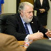 Joplin Mayor Gary Shaw opens a roundtable discussion with Missouri Governor Mike Parson and mayors from Jasper County on Tuesday at Joplin City Hall. Topics discussed included infrastructure and work force development.<br /> Globe | Laurie Sisk