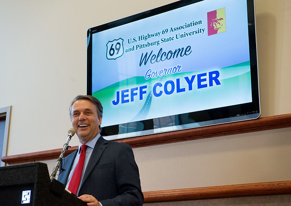 Kansas Gov. Jeff Colyer makes an announcement about the expansion of Highway 69 during a Wednesday press conference at Pittsburg State University.<br /> Globe   Roger Nomer