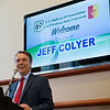 Kansas Gov. Jeff Colyer makes an announcement about the expansion of Highway 69 during a Wednesday press conference at Pittsburg State University.<br /> Globe | Roger Nomer