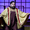 """Jon Eastman perfects his role as Monsingor O'Hara during rehearsal for the Pittsburg Community Theatre production of """"Sister Act"""" on Tuesday night at Pittsburg's Memorial Auditorium.<br /> Globe 