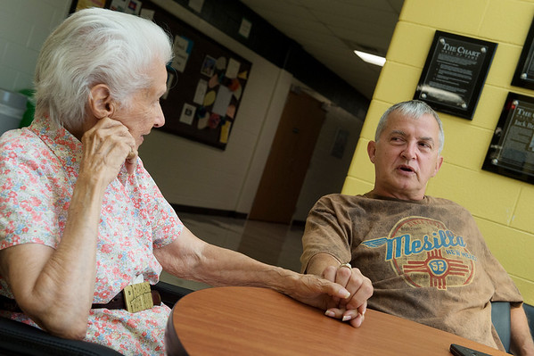 Kevin and Pauletta Keller talk about their travels during an interview on Tuesday at Missouri Southern.<br /> Globe | Roger Nomer