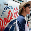 Lina Tran, a roadie with the National Trust for Historic Preservation, welcomes visitors to the Route 66 Airstream trailer on Tuesday at Joplin City Hall.<br /> Globe | Roger Nomer