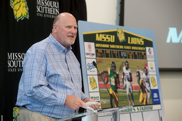 Missouri Southern Head Coach Denver Johnson talks about a new video scoreboard during a press conference Thursday at MSSU.<br /> Globe   Roger Nomer