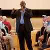 Kelvin Parks, interim director of the Veterans Health Care System of the Ozarks, answers a question during a town hall on Monday at the clinic.<br /> Globe | Roger Nomer