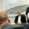Missouri Governor Mike Parson, right, opens a roundtable discussion with mayors from Jasper County on Tuesday at Joplin City Hall. Topics discussed included infrastructure and work force development.<br /> Globe | Laurie Sisk