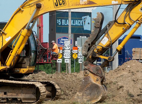 Construction continues on Highway 69 south of Pittsburg on Wednesday.<br /> Globe | Roger Nomer