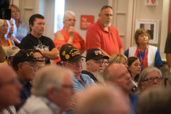 Veterans listen during a town hall on Monday at the Veterans Health Care System of the Ozarks.<br /> Globe   Roger Nomer