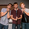 """(from left) Tanner Munson, as Denny, Spencer Dawson, as Eugene, and Joseph Mitchell, as Wally, reahearse a scene from """"Life Could Be a Dream"""" on Tuesday at the Joplin Little Theatre.<br /> Globe 