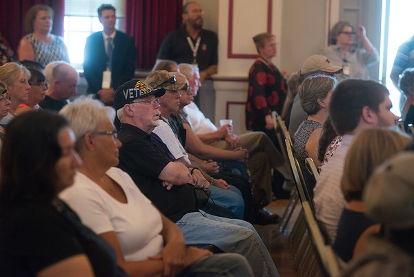 Veterans listen during Monday's town hall at  the Veterans Health Care System of the Ozarks.<br /> Globe   Roger Nomer