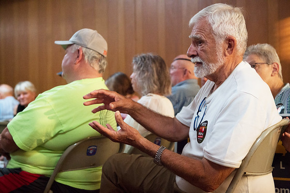 Glen Conyers talks about his opposition to Prop A during a meeting of the SWMO Democrats on Wednesday at the Hall of the Laborers Local.<br /> Globe | Roger Nomer