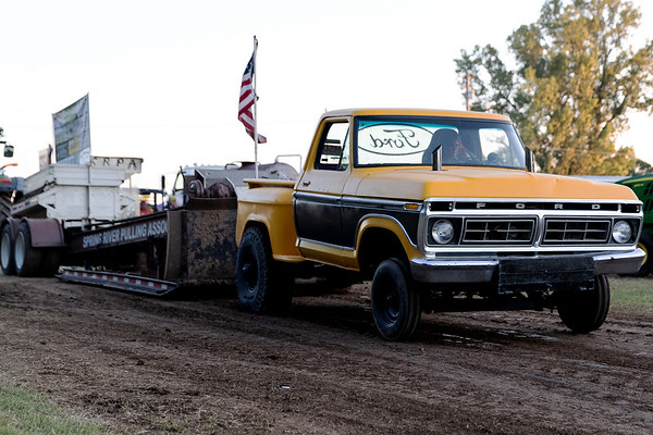 Tammie Sullivan from Pittsburg KS on board of her 1976 Ford Truck ready to start her pull during the tractor and pickup pull fund raiser sponsored by Carthage Shrine Club on Saturday evening.<br /> Israel Perez|Globe