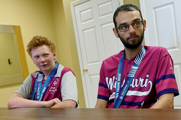 From the left: Special Olympians Jeremiah Ellis and Seth Dye talk about their experiences at the Special Olympics in Seattle earlier this month. Dye competed in softball and Ellis in bowling.<br /> Globe | Laurie SIsk