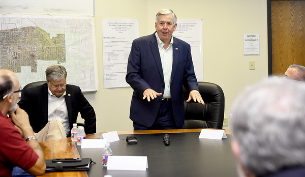 Missouri Governor Mike Parson opens a roundtable discussion with mayors from Jasper County on Tuesday at Joplin City Hall. Topics discussed included infrastructure and work force development.<br /> Globe   Laurie Sisk