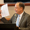 Pittsburg State President Steve Scott holds up a map of Highway 69 during a press conference on Wednesday at PSU.<br /> Globe | Roger Nomer