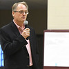 Joplin RVIII School Board President Sharrock Dermott fields questions fron parents and residents during a public input forum on the fate of Columbia and West Central Elementary schools on Thursday night at Columbia Elementary. The forum was one of several conducted during the week.<br /> Globe | Laurie Sisk